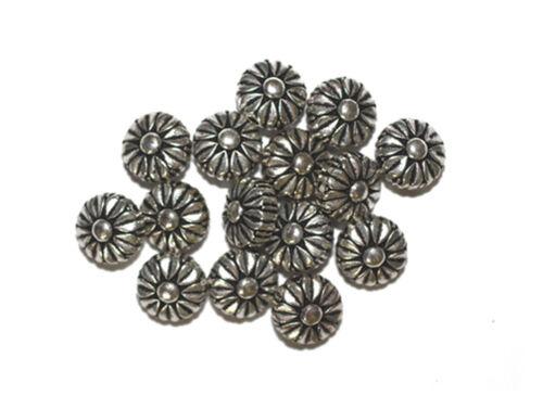 10mm Daisy Flower Antiqued Silvertone Metalized Metallic Beads