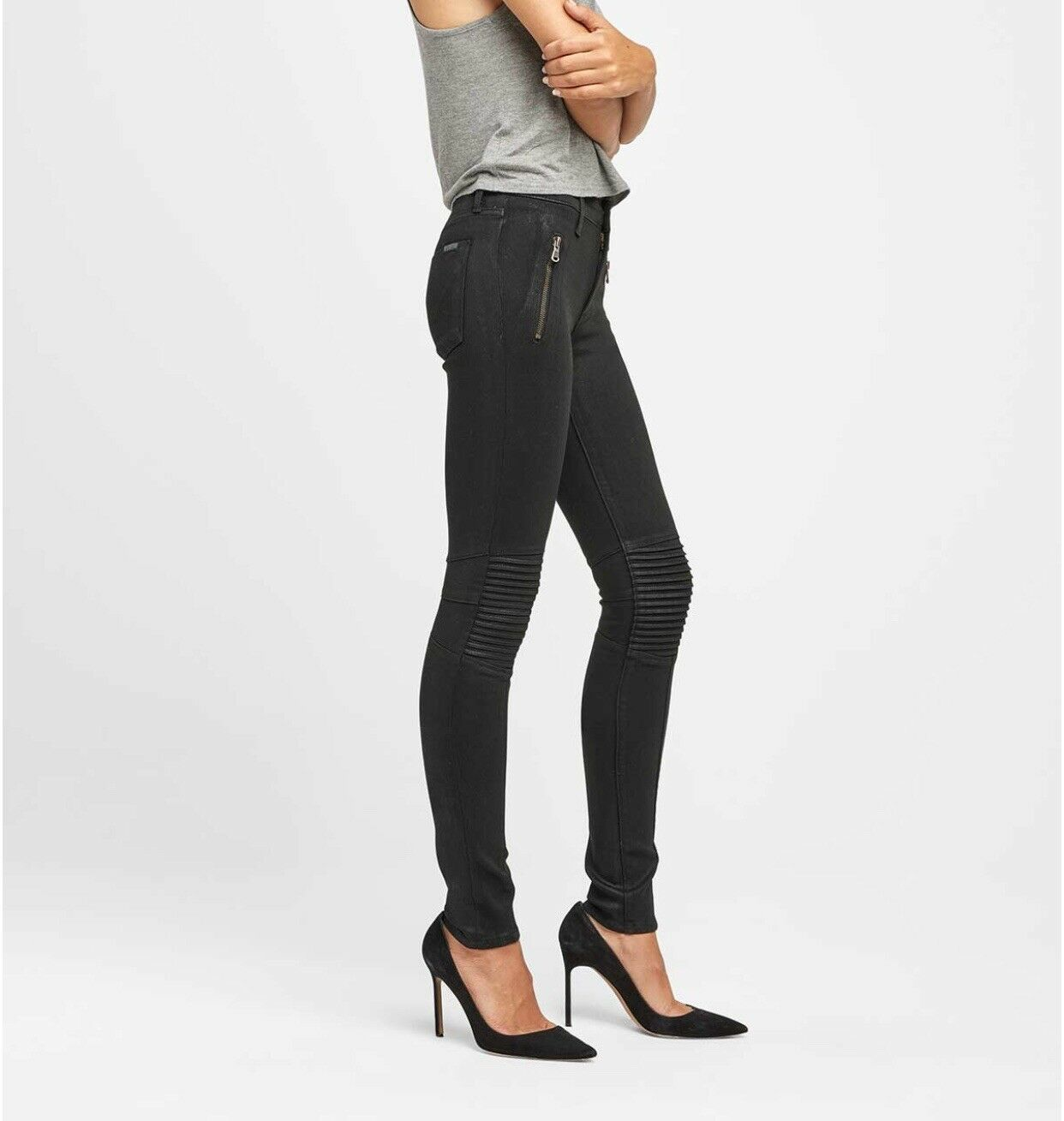 Nwt Hudson Stark Moto Pants Jeans Faded Blk High Waisted Sz 25 Msrp 255