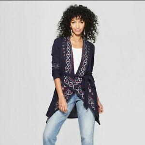 Women-039-s-Long-Sleeve-Embroidered-Waffle-Cardigan-Knox-Rose-Navy-XXL