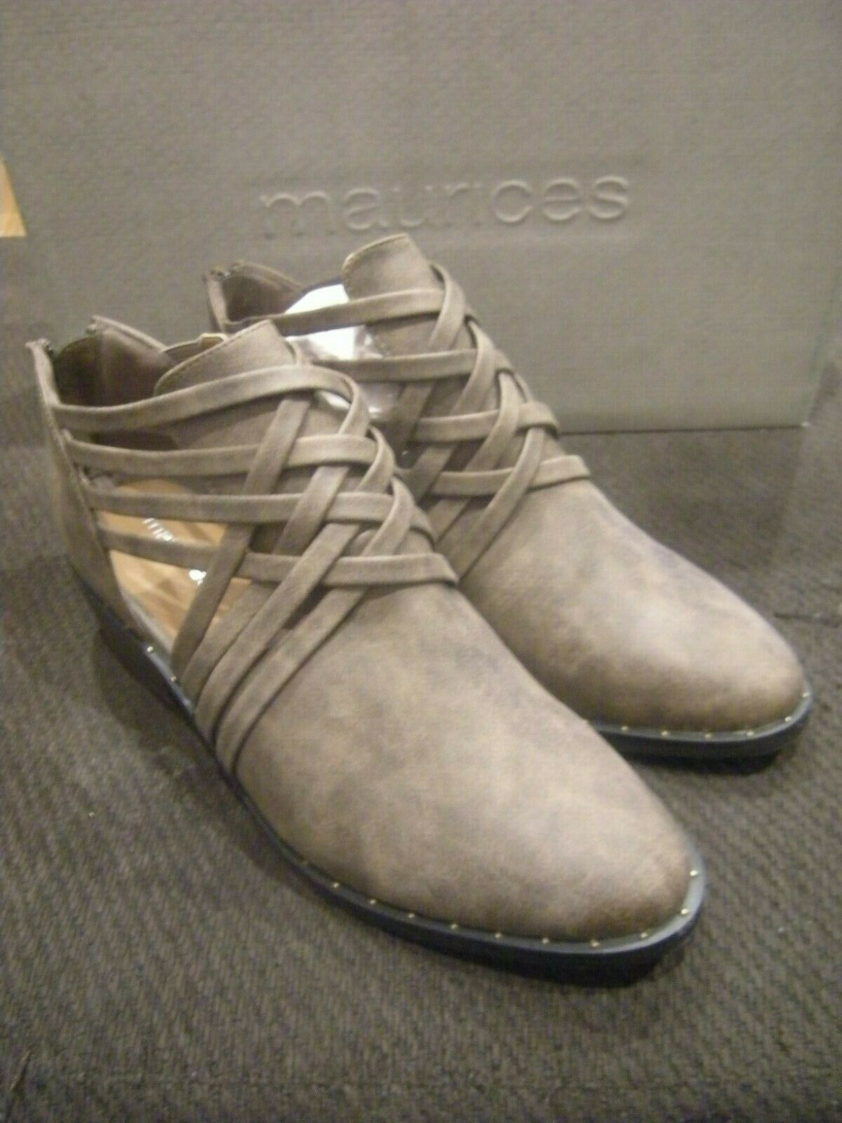 Brand New Womens Dark Taupe Brown Maurices Cece Miti Strap Boots, Size 7.5