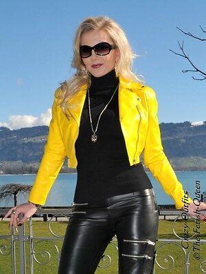 Details zu Lederjacke Leder Jacke Gelb Kurz Biker Größe 32 58 XS XXXL