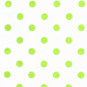 100-Cotton-Retro-Fabric-9mm-Green-Yellow-Polka-dots