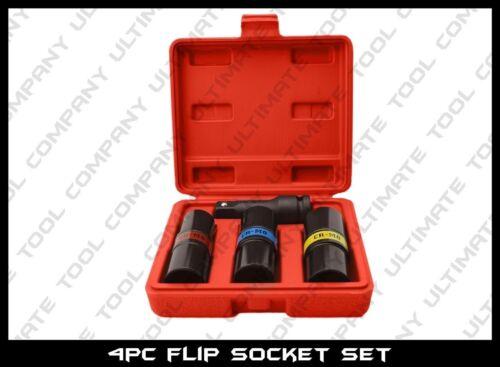 """4pc Flip Socket Set Impact Lug Nut Remover Pro 1//2/"""" Drive SAE Metric Common Size"""
