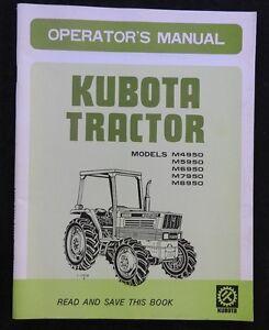 genuine kubota m4950 m5950 m6950 m7950 m8950 tractor operators rh ebay com kubota tractor owners manual bx 1860 kubota tractor owners manuals pdf