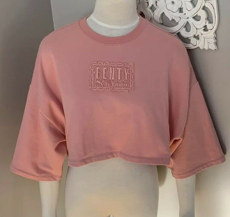 Puma By Rihanna Fenty Crop Top Shirt Rosa damen's Größe XS New
