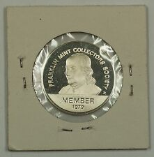 Silver Medalette 1979 Franklin Mint Collector's Society 0.3 ozt of Sterling