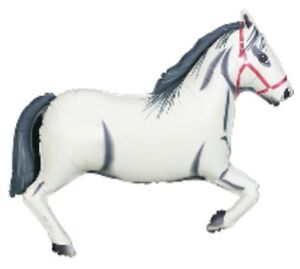 "Large White Horse Foil Balloon 43"" Racing I Love Horses Cowboy Western"