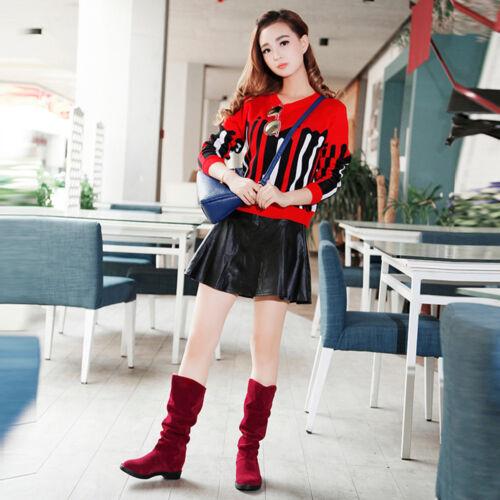 Fashion Femmes Hiver Neige Bottes Travail fond plat Chaussures Mi-mollet en daim Long Boot