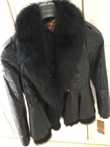 Women's Størrelse Ekte Real Jacket Frakk Ladies Brukt Black Leather 16 rCTpxrqF