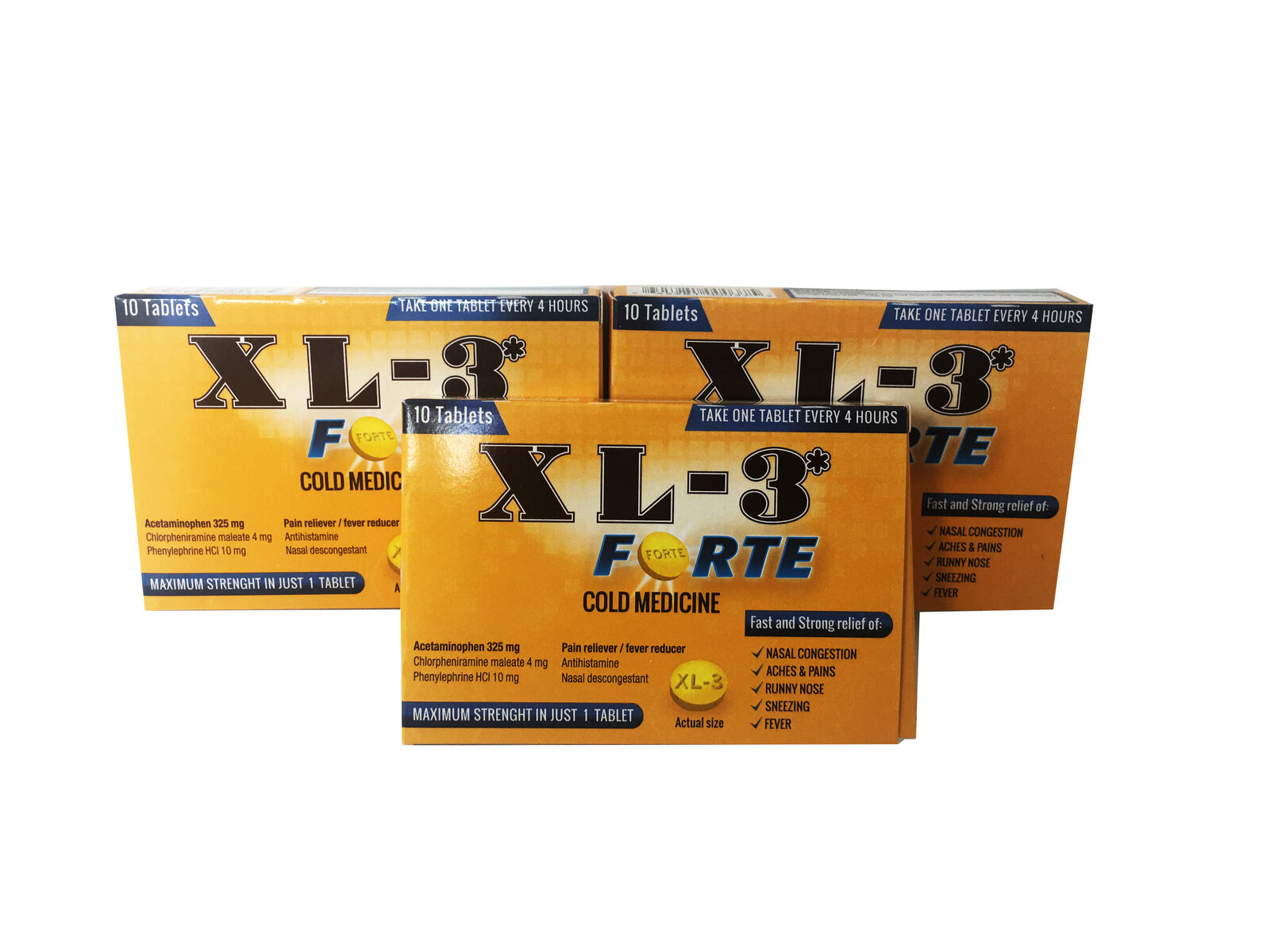 Health Care Cold Medicine Tablets XL3 Forte, 10ct pack of 3