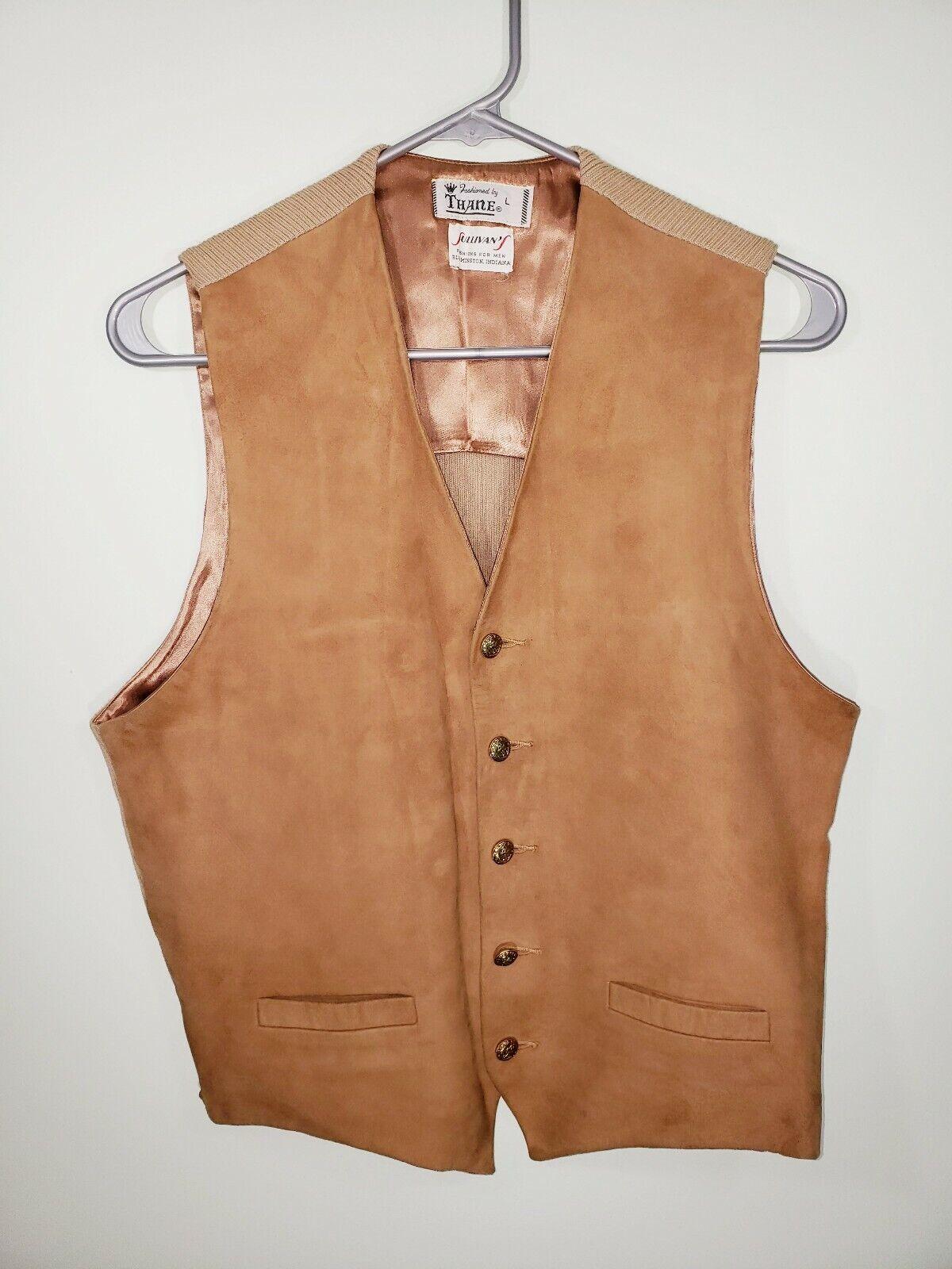 Thane Vintage Circa 1950's Beige Tan herren Größe L Suede Vest Retro Gold ButtonEUC