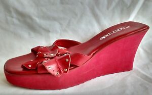 Summer Moda Used In Red Ladies Sandals Womens Heel Size Wedge Leather 6 39 Pelle qTOHqdW18