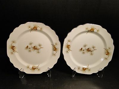 "TWO W S George Half Century Pine Cone Lunch Plates 9 1/4"" Lido (Set of 2) NICE"