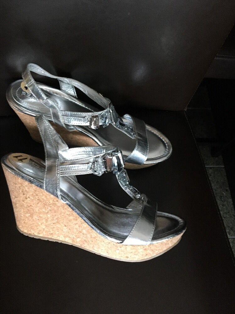 Kenneth Cole Reaction Sole Lites Silver Platform Sandale sz 11 new