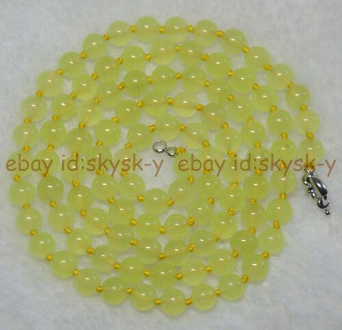 environ 91.44 cm 36 in 8 mm Préhnite Vert Clair Jade Pierres Précieuses Perles Rondes Colliers AAA