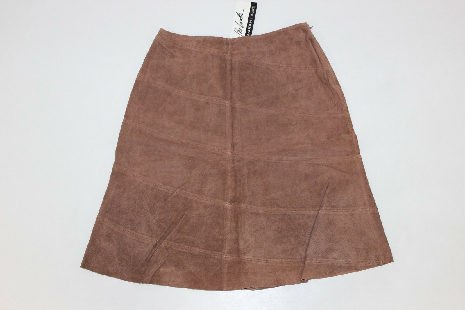 The Look Randolph Duke Womens Size 12 Brown Soft Leather Suede Skirt Lined NEW