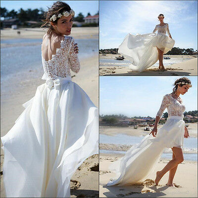 3 4 Sleeve Short Lace Beach Bridal Gown Open Back Lace Chiffon