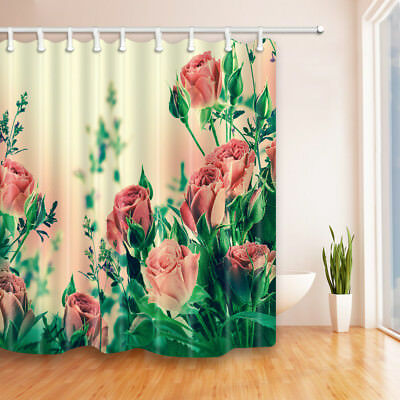 The Red Rose Theme Waterproof Fabric Home Decor Shower Curtain Bathroom Mat