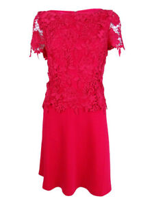 Tahari-ASL-Women-039-s-Lace-Peplum-A-Line-Dress