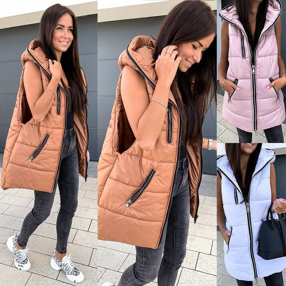 Womens Quilted Sleeveless Hooded Vest Gilet Waistcoat Padded Winter Bodywarm Top