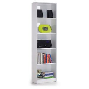 Estanteria-Alta-5-Estantes-Blanco-Brillo-Libreria-Juvenil-Mueble