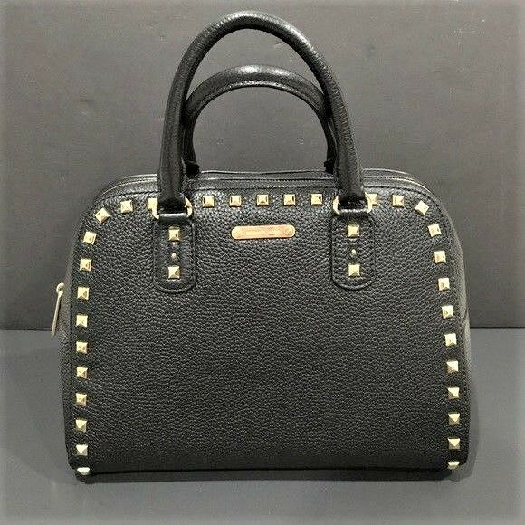 1cde5213d3db Michael Kors Sandrine Studded Satchel Black Leather Crossbody Purse for  sale online | eBay