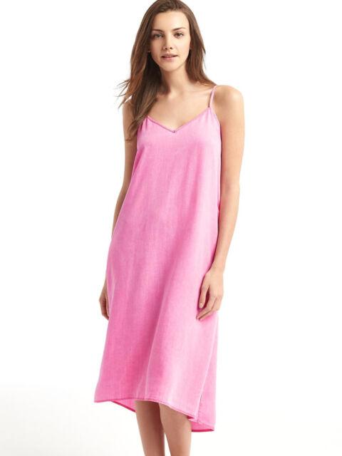 d7ebb1bba91 GAP Women Dress Cami XS V-neck Denim Midi Faded Pink Adjustable Straps  Tencel