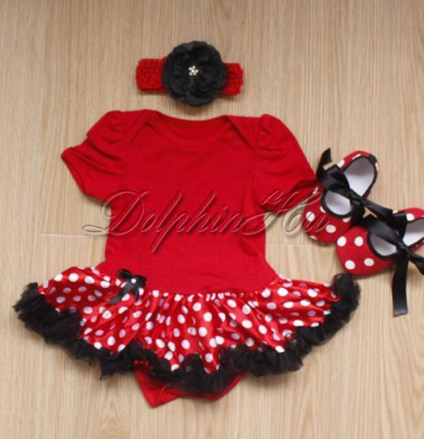 3PCS Newborn Baby Girls Infant Romper Tutu Skirt Dress Outfits Size 0-12 Months
