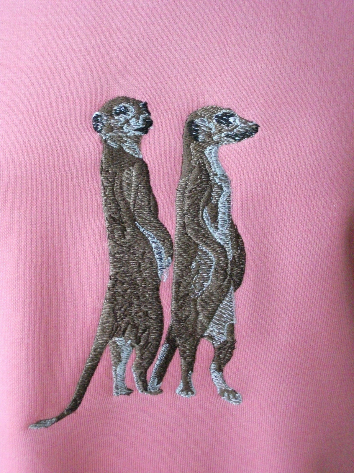 LADIES SWEATSHIRT,JUMPER,TOP WITH WITH WITH AN EMBROIDERED MEERKAT ANIMAL DESIGN PINK PINK f74fe1