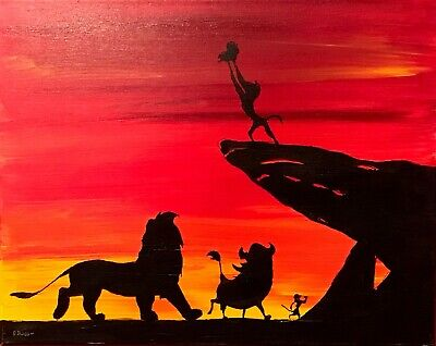 The Lion King Disney Pride Rock Simba Hand Signed Artwork 16x20 Canvas Signed Ebay