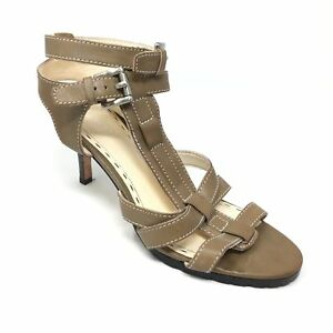 Women-039-s-Coach-Flora-Sandals-Heels-Shoes-Size-7B-Brown-Leather-Ankle-Strap-AB15