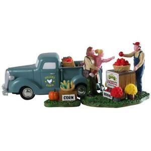 Lemax Christmas Village Town Buy Local 93428 Fall Harvest Stand Farmer Truck 3pc