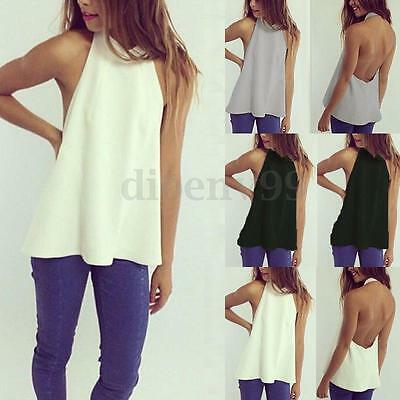 Zanzea S-XXL Women Summer Casual Backless Halter Shirt Summer Blouse Tank Tops