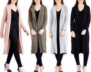 New-Ladies-Womens-Long-Sleeve-Collared-Long-Line-Duster-Coat-Jacket-Size-UK-8-14