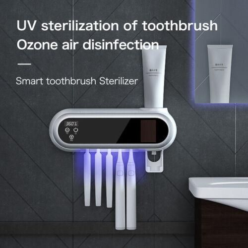 USB Intelligent UV Toothbrush Sanitizer Holder With Toothpaste Squeezer Holder