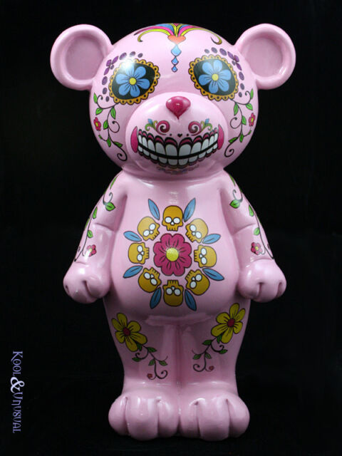 Fun Mexican Day of the Dead PINK TEDDY BEAR Sugar Skeleton Money Box Bank