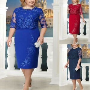 Details about Plus Size Women Lace Short Sleeve Midi Dress Cocktail Evening Party Dresses N520