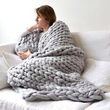 Толстые вязаные толстое одеяло зимняя теплая ручная пряжа меринос громоздкий диванная диван вязаный
