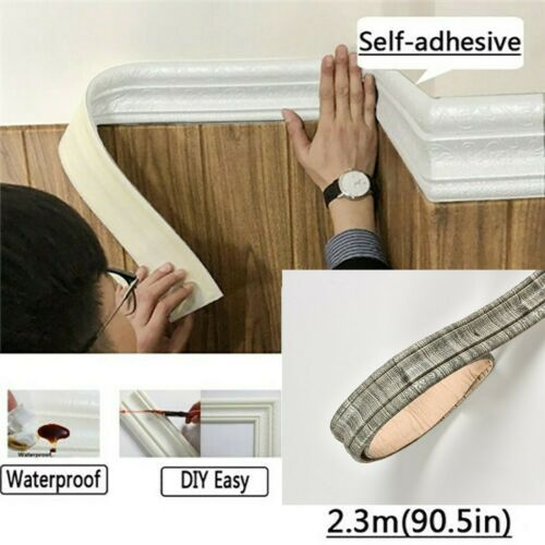 DIY 3D Pattern Self Adhesive Waterproof PE Border Wall Decor Removable Sticker