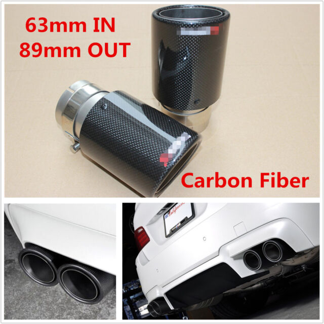 1x Gloss Exhaust Tip 63MM IN-89MM OUT Carbon Fiber Exhaust Tip Muffler