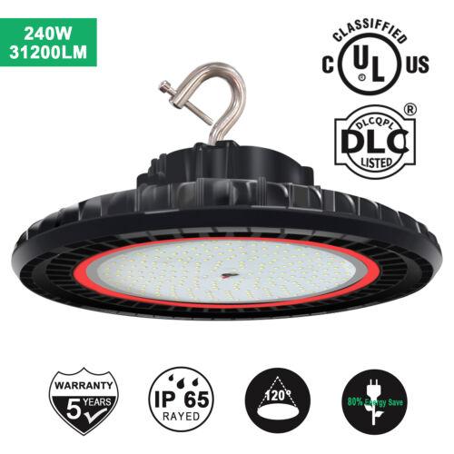 DLC 240W Dimmable LED UFO High bay Light 5000K Workshop Warehouse Gym Light