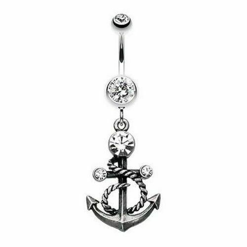 Finition Antique Chic Ancre 316 L acier chirurgical Belly Button Ring