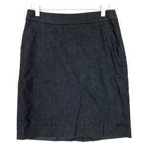 Loft denim pencil skirt dark wash blue size 4p petite small