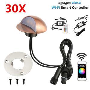 30X-Smart-Wifi-50mm-12V-RGB-Bronze-Half-Moon-LED-Step-Fence-Deck-Stair-Lights