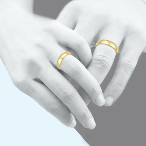 10K Solid Yellow Gold Regular Fit Plain Wedding Band Ring 2-6mm Size 5-13 Polish