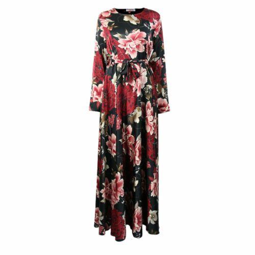 Womens Ladies Crew Neck Belted Long Sleeve Rose Floral Maxi Jilbab Abaya Dress 6