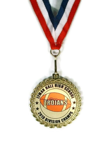 Football Medal- Team Award- Minimum Order 6- Custom Wording- Free Neck Ribbon