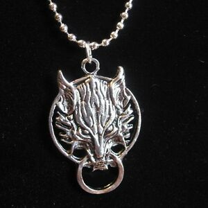 Official final fantasy vii cloud wolf pendant silver plated necklace image is loading official final fantasy vii cloud wolf pendant silver aloadofball Image collections