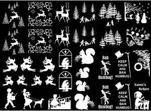 """Christmas Art Deco Reindeer Tree 5""""X7"""" Card White Fused Glass Decals 17CC782"""