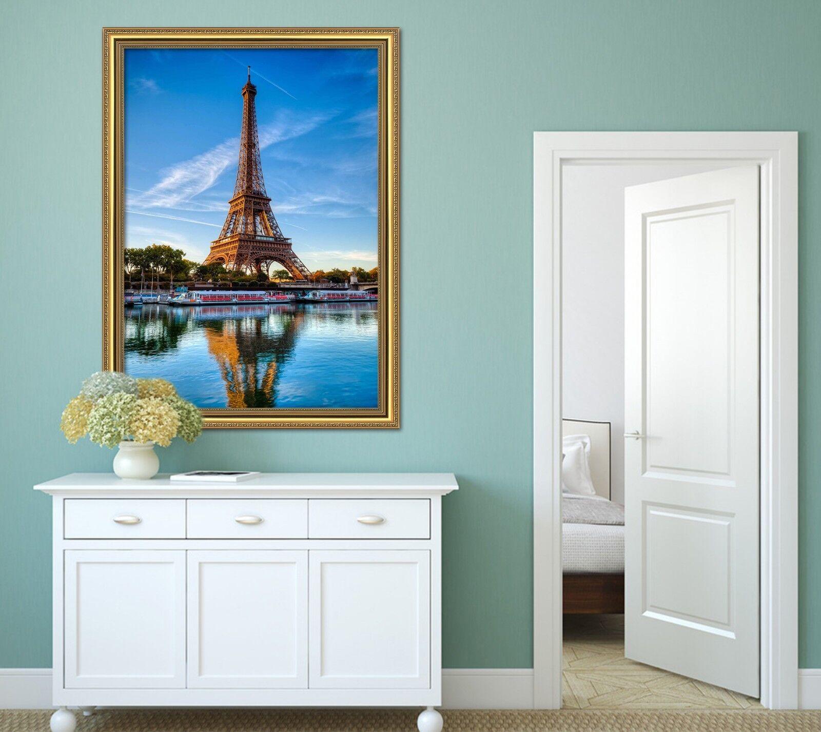 3D Torre Eiffel Lago 21 Enmarcado Póster Decoración del Hogar Pintura de Impresión Arte AJ Wallpaper
